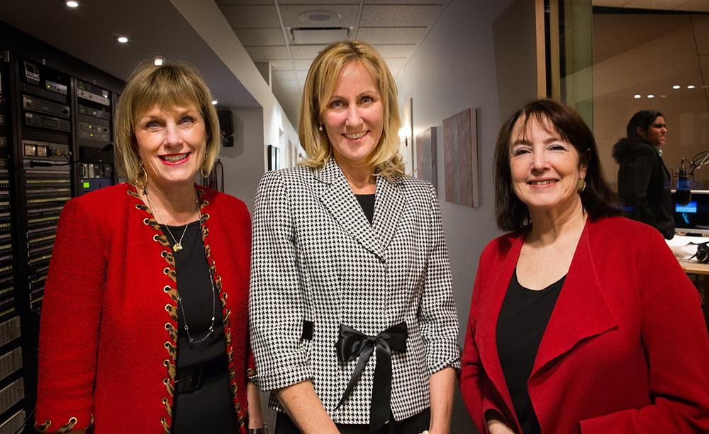 Our in-studio roundtable guests, from left: Cathy Minehan, Betsy Myers and Nancy Gertner (Jesse Costa/WBUR)