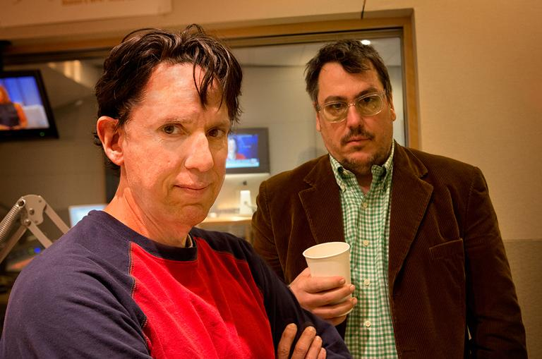 Why do these men look so upset? They had a lot of fun with us! John Linnell (left) and John Flansburgh are They Might Be Giants. (Jesse Costa/WBUR)