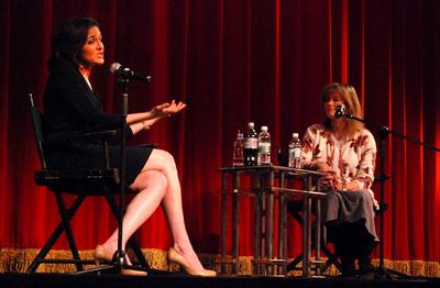 "Robin Young interviews Facebook COO Sheryl Sandberg at the Coolidge Corner Theatre for a discussion of her book ""Lean In: Women, Work, and the Will to Lead."" (Robin Lubbock/WBUR)"