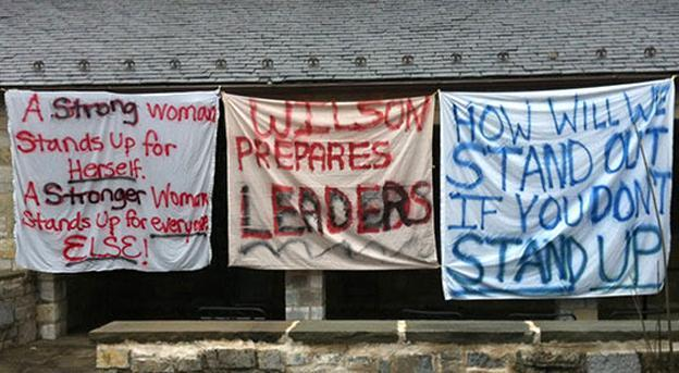 Signs hang at Wilson College, protesting the decision to make the school co-ed. (change.org)