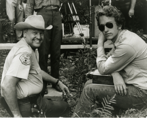 """James Dickey and son Chris Dickey on the set of """"Deliverance."""" Dickey also played Sheriff Bullard in the film. (Emory University Library)"""