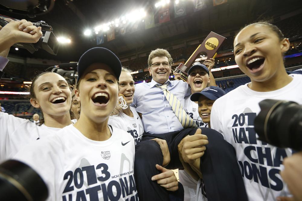On Tuesday, University of Connecticut women's basketball coach Geno Auriemma celebrated a national championship for the eighth time in his career. (Dave Martin/AP)