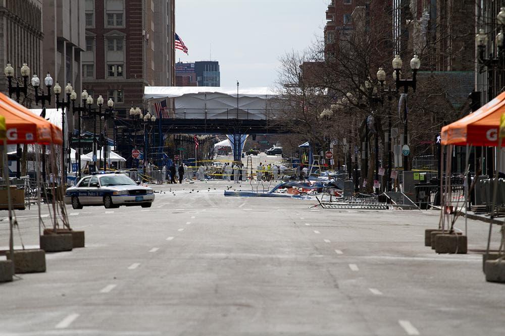 View of the Boston Marathon finish line on Boylston St. (Jesse Costa/WBUR)