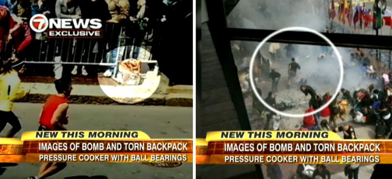 At left, an image from WHDH-TV of a bag that appears to be at the center of one of the explosions. At left, a man who responds differently from other victims of the blast. (Screenshots from ABC's Good Morning America)