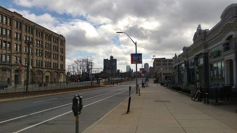 A deserted Commonwealth Ave. on Friday morning, April 19, 2013. (Will Smith/WBUR)