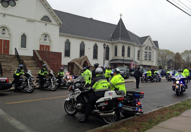 A private funeral was held Tuesday morning for MIT police officer Sean Collier at St. Patrick Parish in Stoneham. (Fred Bever/WBUR)