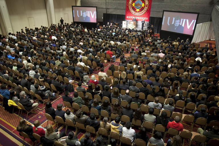Friends, families and fellow students packed Metcalf Hall on Boston University campus on Monday for a memorial service in memory of BU graduate student Lu Lingzi, who was killed in the Boston Marathon bombings. (Dina Rudick/The Boston Globe, AP Pool Photo)