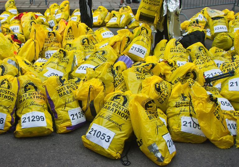 Bags holding runners' clothing and personal items wait to be claimed on April 15, 2013. (Mark Zastrow/Flickr)