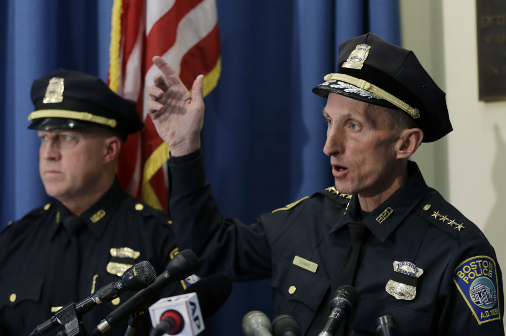 Boston police Superintendent William Evans speaks at a news conference in Boston. (Elise Amendola/AP)