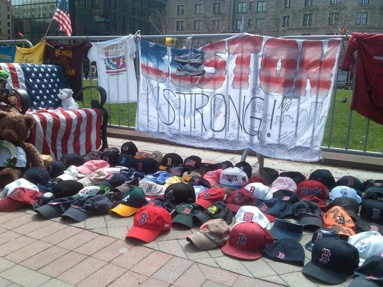 The makeshift memorials around the Boston Marathon crime scene have been moved to Copley Square Park. (Alex Ashlock/Here & Now)
