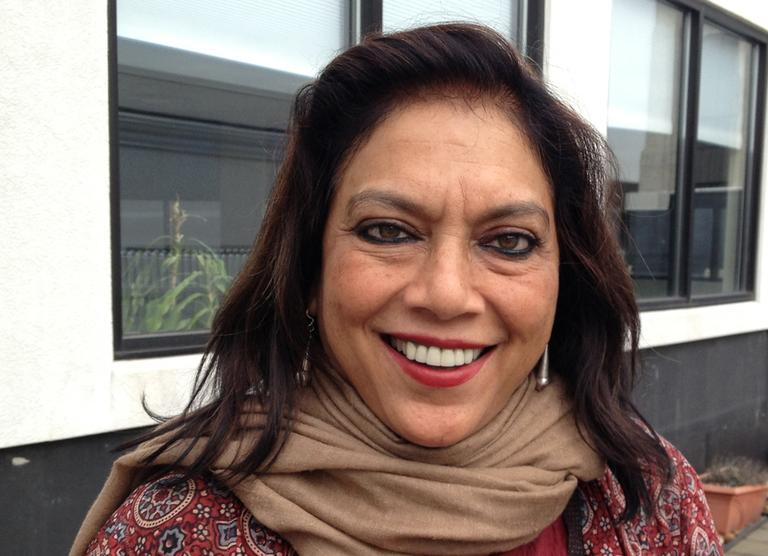 Film director Mira Nair is pictured at the Here & Now studios in Boston. (Here & Now)