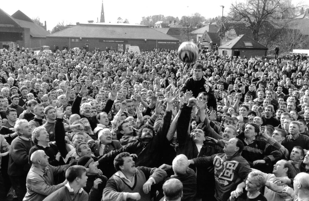 Each year, thousands of players compete in an annual game of Shrovetide Football. (Courtesy of Peter Baxter)