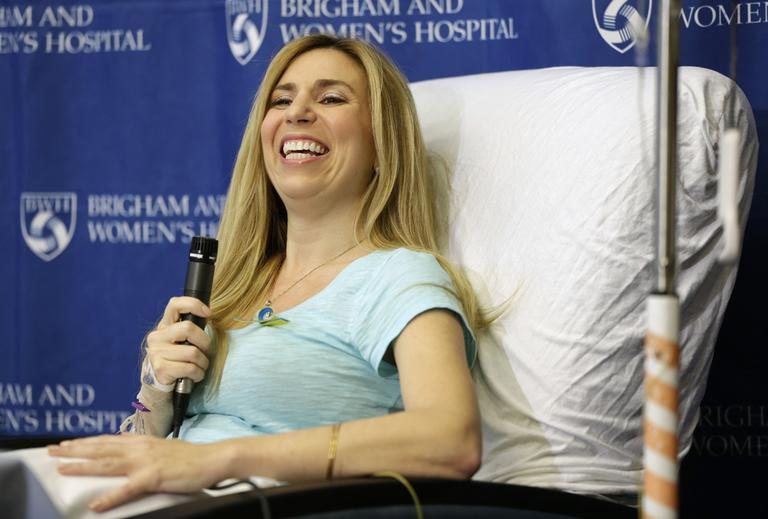 Heather Abbott, of Newport, R.I., underwent a below the knee amputation on her left leg following injuries she sustained at the Boston Marathon bombings. (Steven Senne/AP)