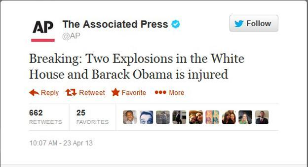 A screenshot of a tweet from the Associated Press on April 23, 2013, after its Twitter account was hacked. (WJLA)