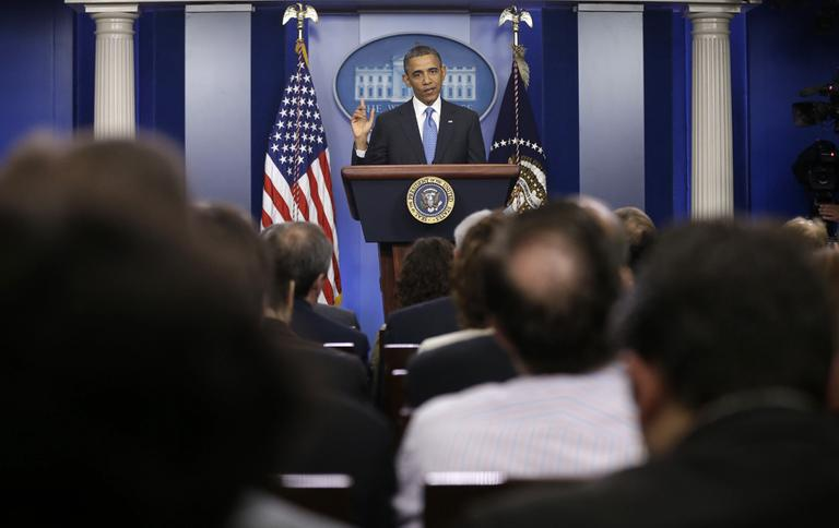 President Barack Obama answers questions during his news conference in the Brady Press Briefing Room of the White House in Washington, Tuesday, April 30, 2013. (Pablo Martinez Monsivais/AP)