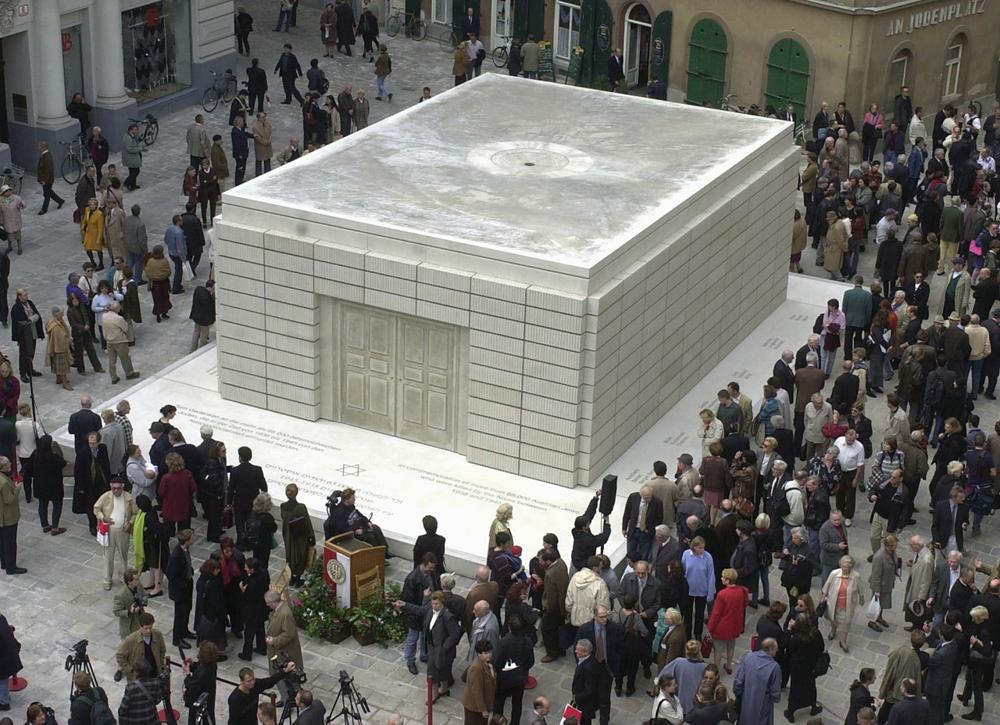 An overview of the Judenplatz in Vienna and the Holocaust monument created by British artist Rachel Whiteread in commemoration of the 65,000 Austrian Jews who died during the Nazi-regime. (Martin Gnedt/AP)