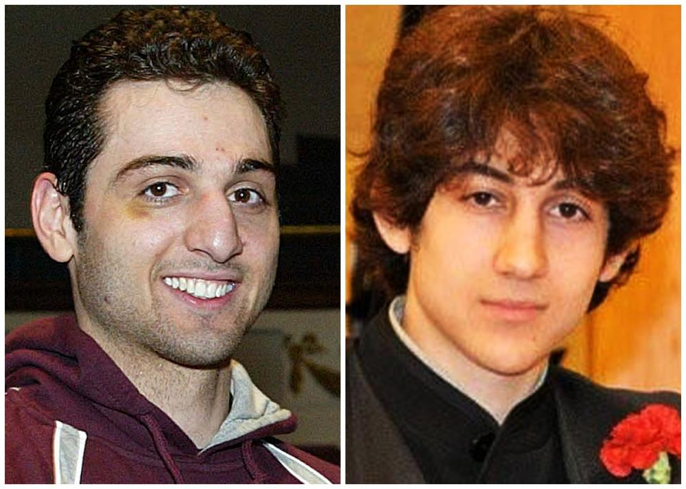 This combination of undated photos shows Tamerlan Tsarnaev, 26, left, and Dzhokhar Tsarnaev, 19. The FBI says the two brothers and suspects in the Boston Marathon bombing killed an MIT police officer, injured a transit officer in a firefight and threw explosive devices at police during a getaway attempt in a long night of violence that left Tamerlan dead and Dzhokhar still at large on Friday, April 19, 2013. (AP Photo/The Lowell Sun & Robin Young)