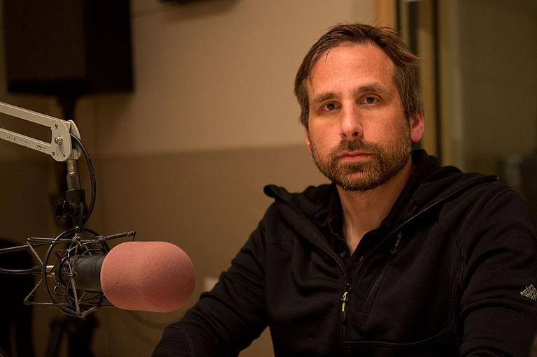 Ken Levine in the On Point studio (photo by Jesse Costa, WBUR)