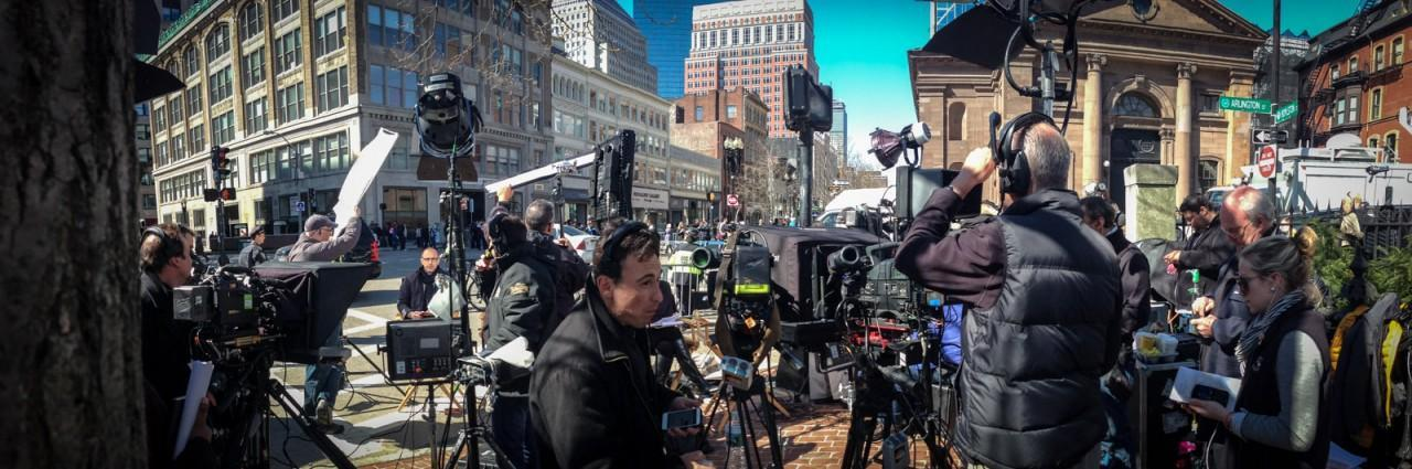 Crew for The Today Show and other media crowd together on the corner of Boylston and Arlington Streets on Tuesday, April 16, 2013. (Joe Spurr/WBUR)
