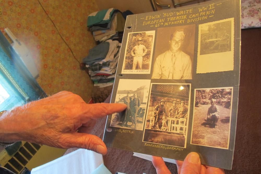 "Edwin ""Bud"" Waite's collection of images from World War II (Andrea Shea/WBUR)"