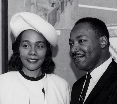 Martin Luther King Jr. and Coretta Scott King visit Boston University in 1964. (BU Photo Services)