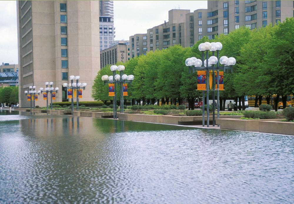Linden trees at the Christian Science Plaza seen from across the reflecting pool and gardens. (Gina Crandell/Courtesy of Princeton Architectural Press)