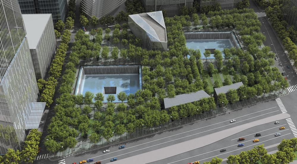 Aerial rendering of the 9/11 Memorial forest. (PWP Landscape Architecture/Courtesy Princeton Architectural Press)
