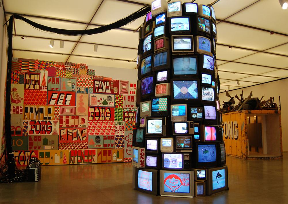 Barry McGee's tower of televisions from 2004/2012. (Greg Cook)