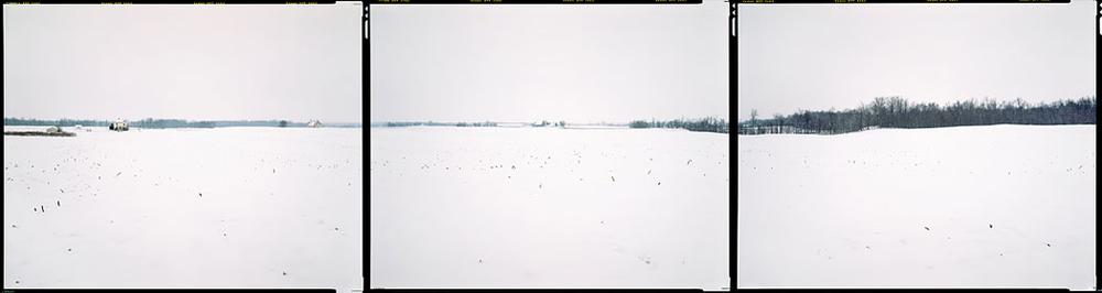 "Bruce Myren's last photo in the series, at ""N 40° 00' 00"" W 85° 00' 00"" Green, Indiana,"" 2012. (Courtesy of Myren.)"