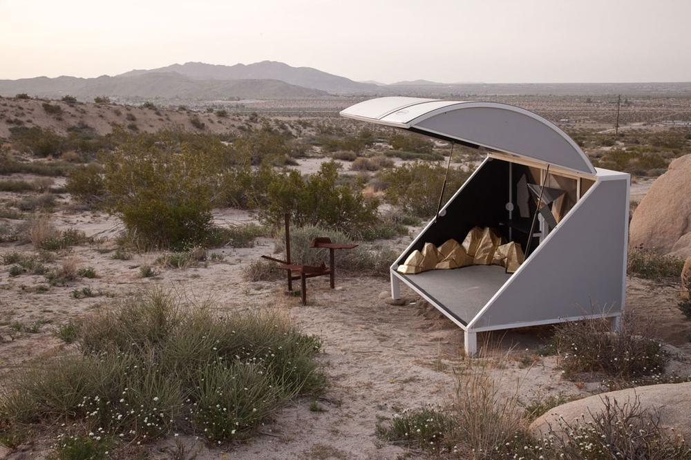 "Andrea Zittel's 2003 ""A-Z Wagon Station' at ""A-Z West,"" customized by Chuck Moffitt. ""The title wagon stations is a play on station wagons, which is the smallest possible space I can imagine being comfortable in,"" Zittel says. (Jessica Eckert/Courtesy of Andrea Rosen Gallery, copyright Zittel)"