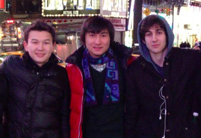 This undated photo added on April 18, 2013, to the VK page of Dias Kadyrbayev shows, from left, Azamat Tazhayakov and Kadyrbayev, from Kazakhstan, with Boston Marathon bombing suspect Dzhokhar Tsarnaev in Times Square in New York. (VK/AP)