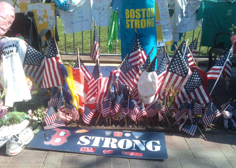 A memorial to victims of the Boston Marathon bombings is pictured in Copley Square, Boston, on Wednesday, May 1, 2013. (Alex Ashlock/Here & Now)
