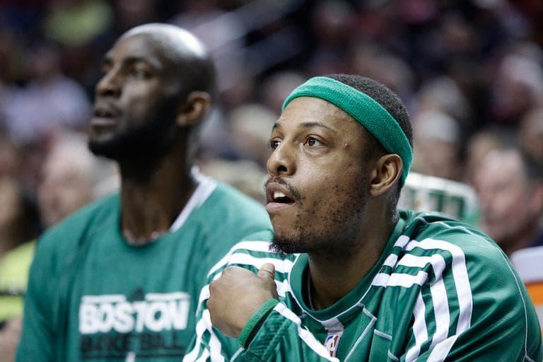 Celtics stars Kevin Garnett, left, and Paul Pierce during a February game (Don Ryan/AP)