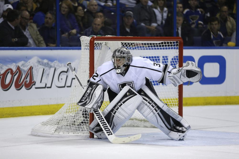 L.A.goalie Jonathan Quick made 63 saves in Games 1 and 2, but the Kings still trail the St. Louis Blues, 2-0, in the first round of the NHL playoffs. (Jeff Roberson/AP)