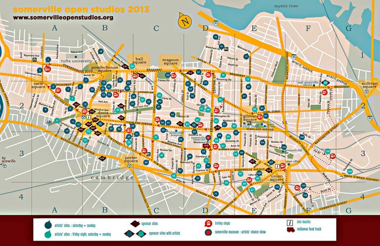 CLICK TO ENLARGE: Somerville Open Studios 2013 map.