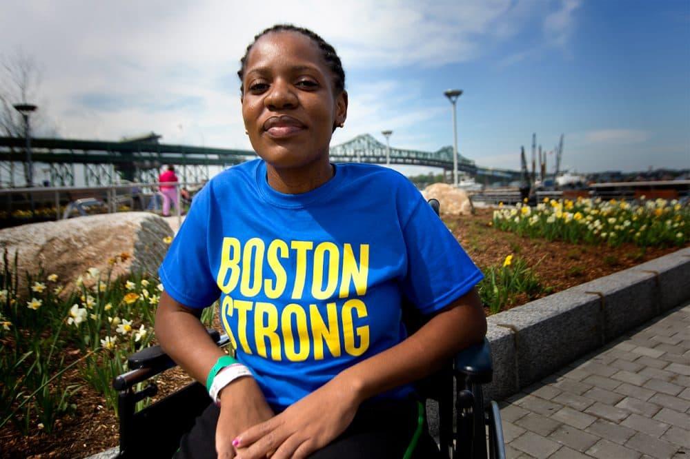 Mery Daniel, pictured last year outside Spaulding Rehabilitation Hospital, lost her left leg in the Boston Marathon bombings. (Jesse Costa/WBUR)