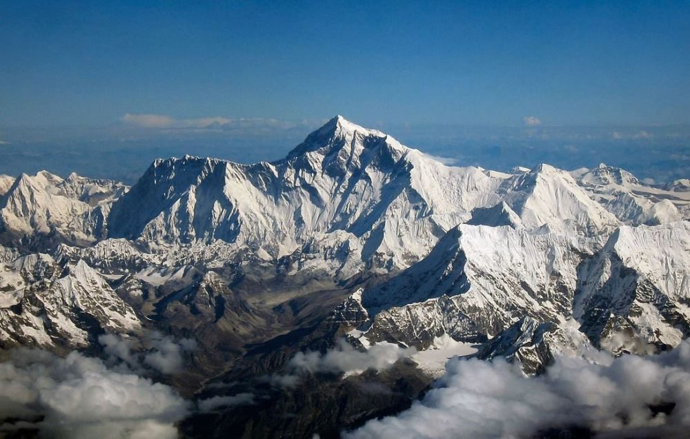 Mount Everest as seen from an aircraft from airline company Drukair in Bhutan. (Wikimedia Commons)