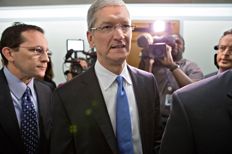 Apple CEO Tim Cook arrives on Capitol Hill, in Washington, Tuesday, May 21, 2013, to testify before the Senate Homeland Security and Governmental Affairs Permanent subcommittee on Investigations. (J. Scott Applewhite/AP)