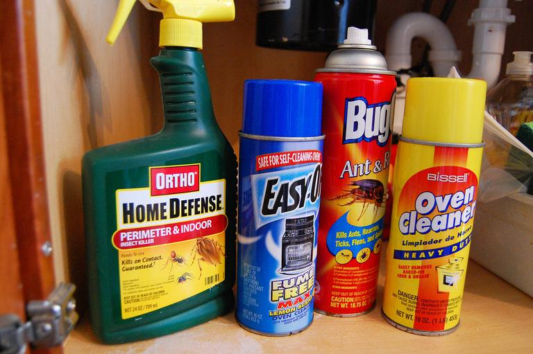 Household cleaners and bug repellent. (Chesapeake Bay Program/Flickr)