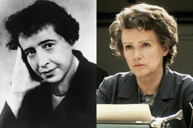 "LEFT: Political philosopher Hannah Arendt in 1954. (AP) RIGHT: Barbara Sukova plays Hannah Arendt in the feature film ""Hannah Arendt"" by Margarethe von Trotta. (Heimatfilm, NFP, DAPD/AP)"