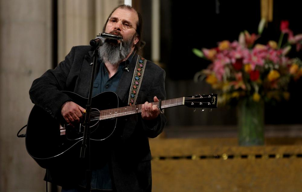 Singer Steve Earle performs during a ceremony and celebration of Rev. Martin Luther King, Jr. at the Riverside Church Sunday, Jan. 15, 2012 in New York. (AP Photo/Craig Ruttle)