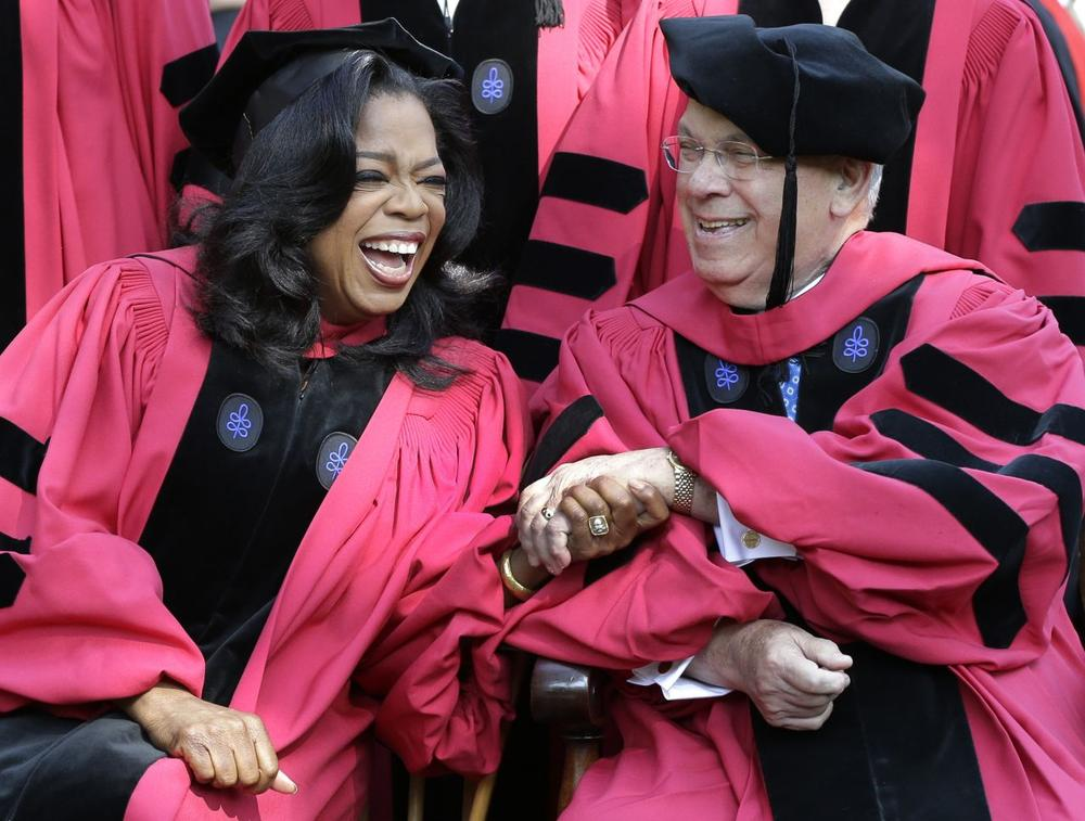 Oprah Winfrey and Boston Mayor Thomas Menino at the Harvard University commencement ceremony in Cambridge in May 2013. (Elise Amendola/AP)