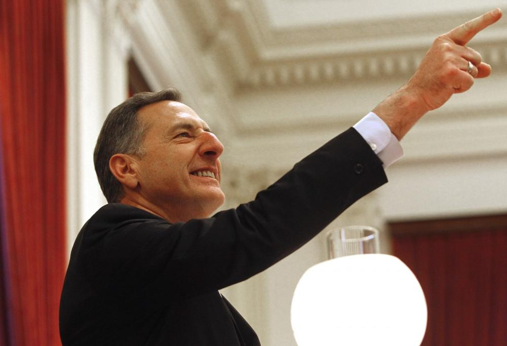 Gov. Peter Shumlin points to supporters during his inauguration to a second term on Thursday, Jan. 10, 2013. (AP)