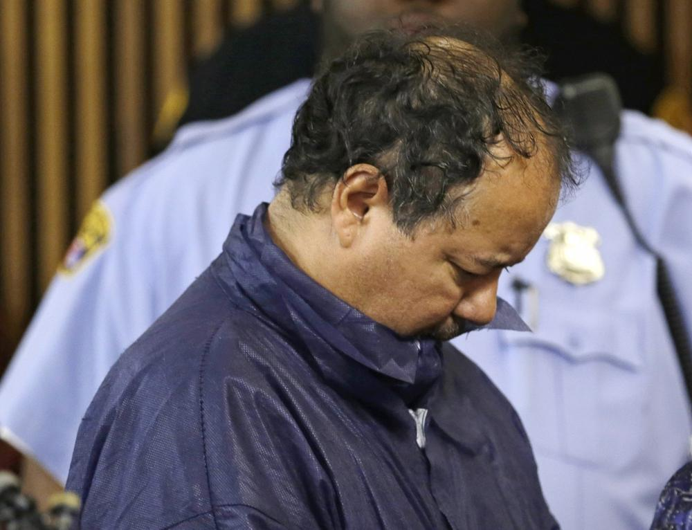 Ariel Castro appears in Cleveland Municipal court on Thursday. Castro was charged with four counts of kidnapping and three counts of rape after three women missing for about a decade and one of their young daughters were found alive at his home earlier in the week. (Tony Dejak/AP)