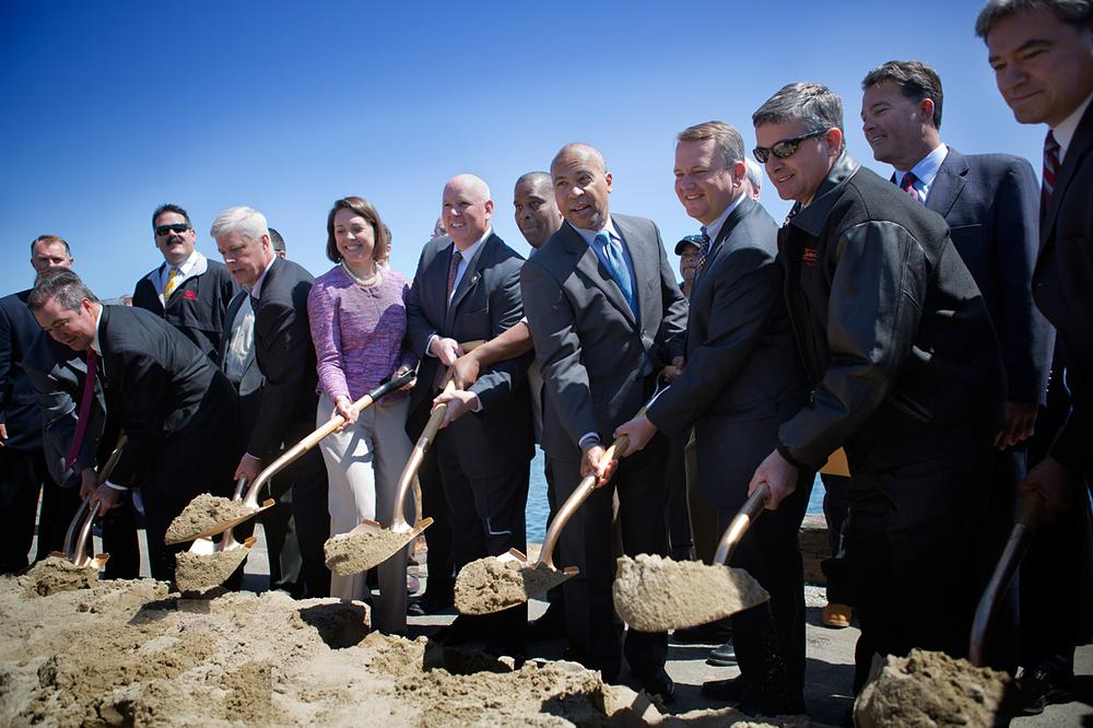 Gov. Deval Patrick joined state officials, clean energy advocates and union representatives to break ground for the New Bedford Marine Commerce Terminal. (Jesse Costa/WBUR)