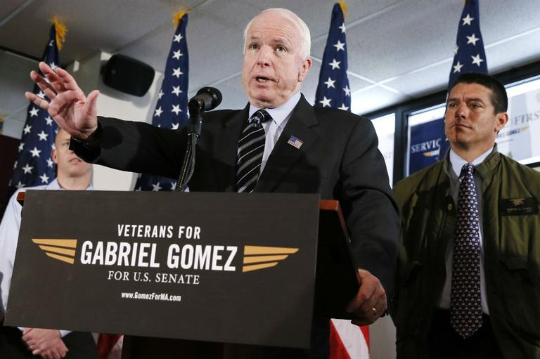 John McCain, Republican Senator from Arizona, showed his support for Republican US Senate candidate, Gabriel Gomez during a rally in Dorchester on Monday. (AP Photo/Michael Dwyer)