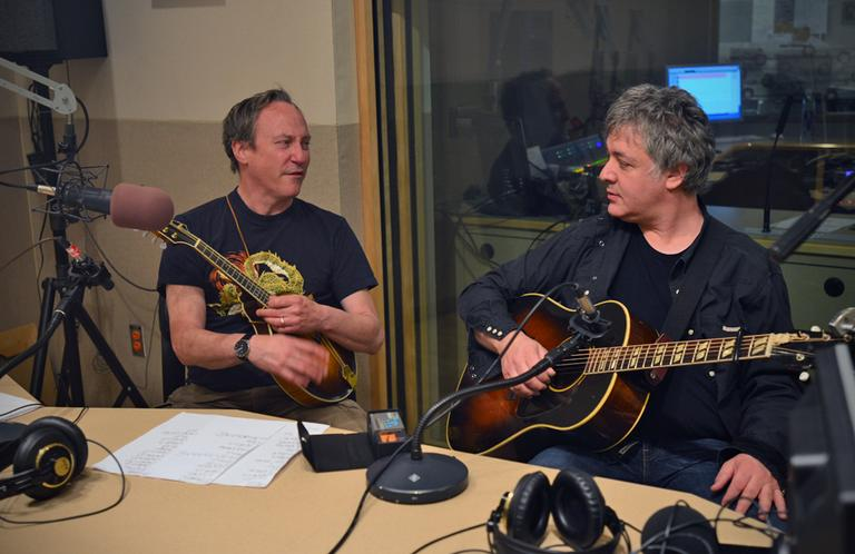 That's Jimmy Ryan on mandolin, Duke Levine on guitar, in the Radio Boston studio May 14, 2013. (Alex Kingsbury/WBUR)