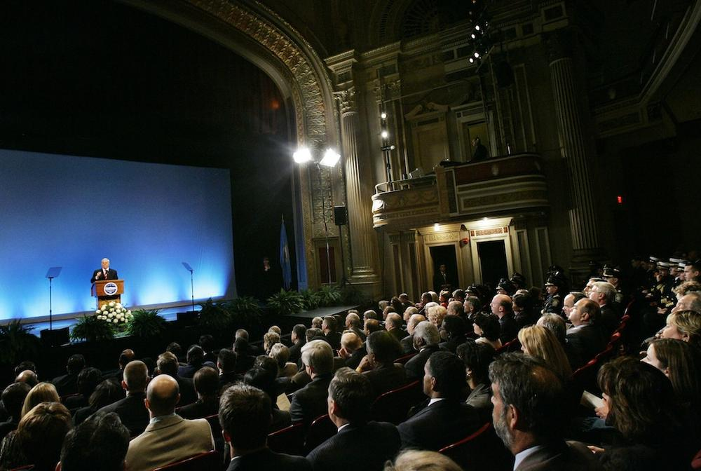 Thomas Menino delivers his State of the City address at the Strand Theatre in 2007. (Elise Amendola/AP)