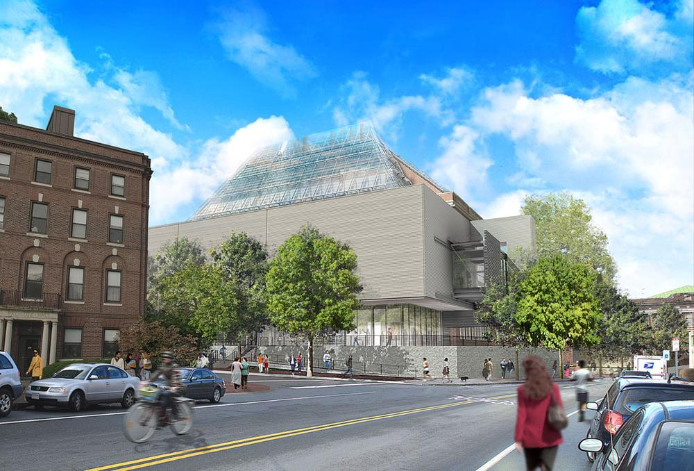 The Harvard Art Museums renovation and expansion project, rendering from Broadway and Prescott Street in Cambridge. (Courtesy Renzo Piano Building Workshop)