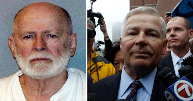 """LEFT: June 2011 booking photo of James """"Whitey"""" Bulger (U.S. Marshals/AP) RIGHT: Former Mass. Senate President William Bulger is escorted from the federal courthouse after the first appearance for his brother James """"Whitey"""" Bulger in Boston, June 24, 2011. (Charles Krupa/AP)"""
